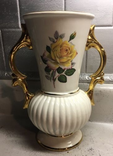 Stunning Hand Decorated Ivory & Gold Vase With Cherokee Roses Made In Italy