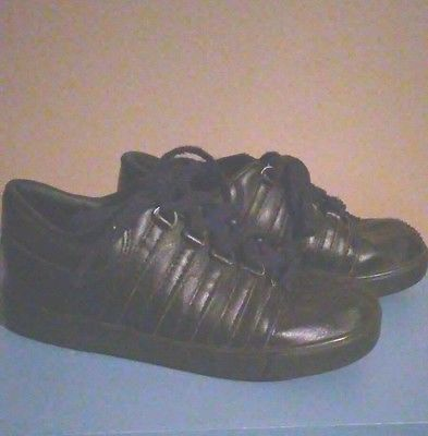 K-SWISS SHOES CLASSIC LEATHER GIRLS ALL BLACK SIZE 10