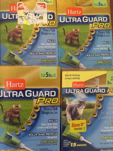 Lot Of 4 HARTZ Ultra Guard Pro Cats Over 5 Pounds Flea And Tick