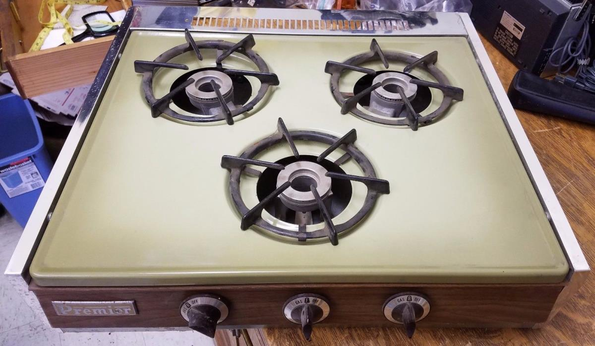 Vintage Premier Stove Co. Olive Green 3 Burner Gas Range Cooktop Trailer or RV