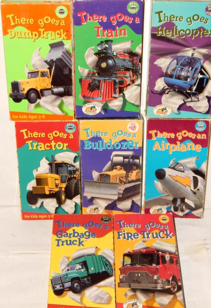 There Goes A … VHS 8 Videos Lot - Dump Truck Train Helicopter Tractor Bulldozer!