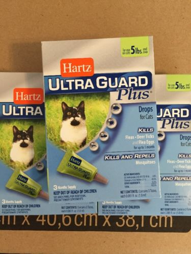 Lot of (5) 15 Months Total HARTZ Ultra Guard Plus Flea Tick Cats 5 Pounds Over F