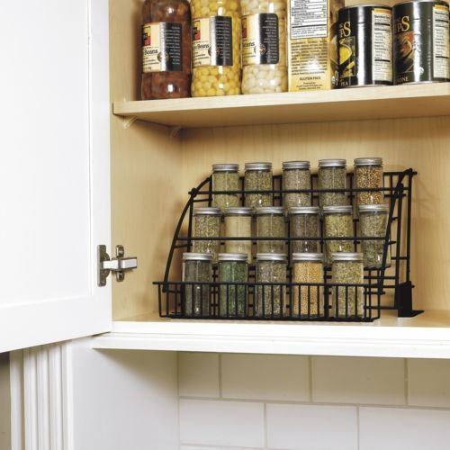 Rubbermaid Kitchen Cabinet Pull-down Spice-Rack Storage Organizer Holder Black