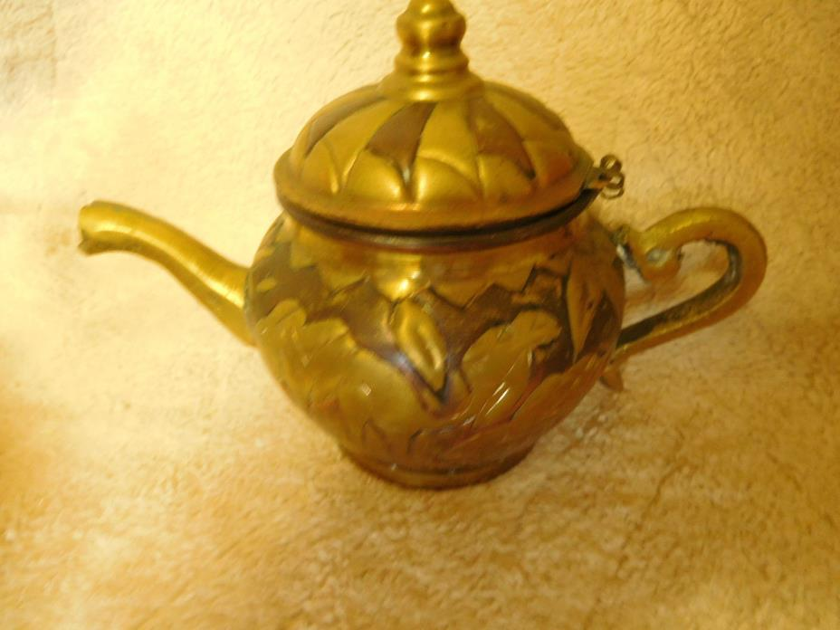 Antique Small Brass Teapot With Hand Cut Camel Design ~Middle Eastern ~FREE SHIP