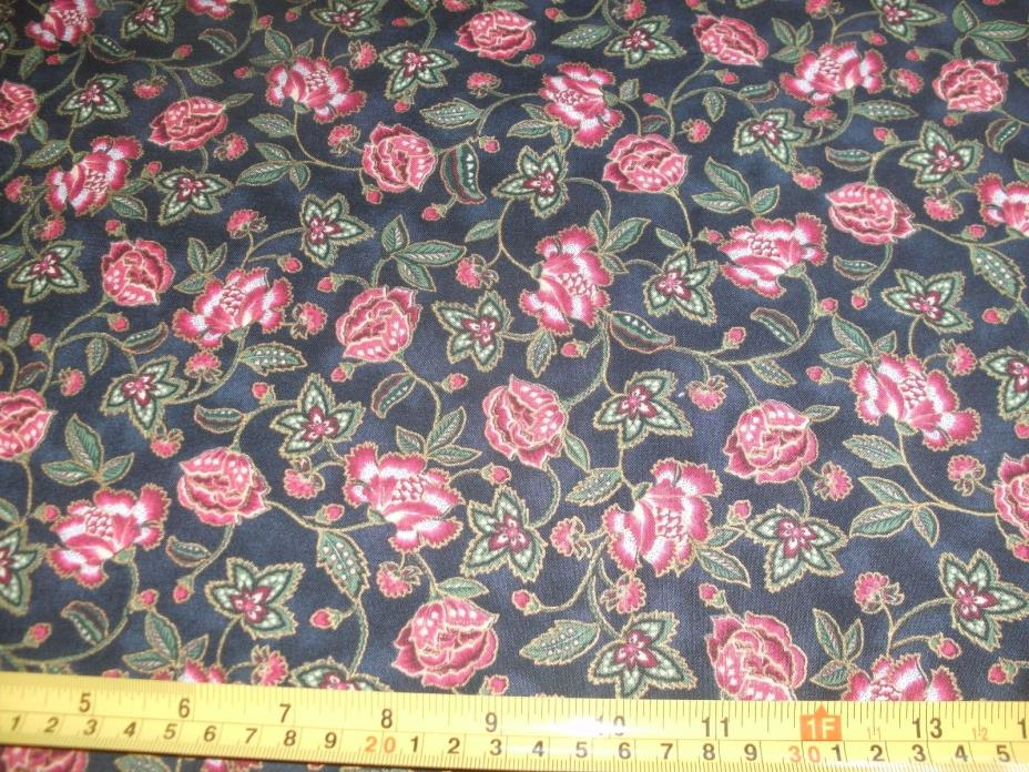 1 Yd Quilting Treasures Floral Quilt Fabric Red Green Flowers on Black Gold Meta