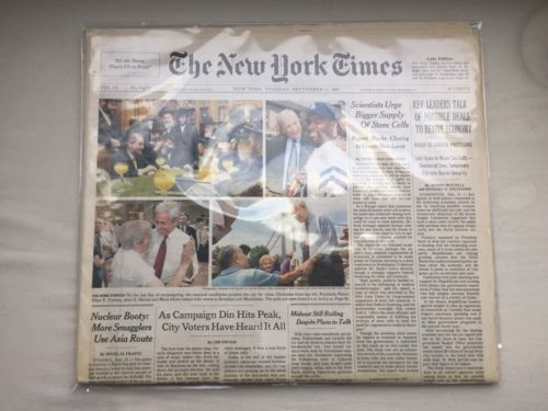 9/11 September 11, 2001 New York Times Newspaper