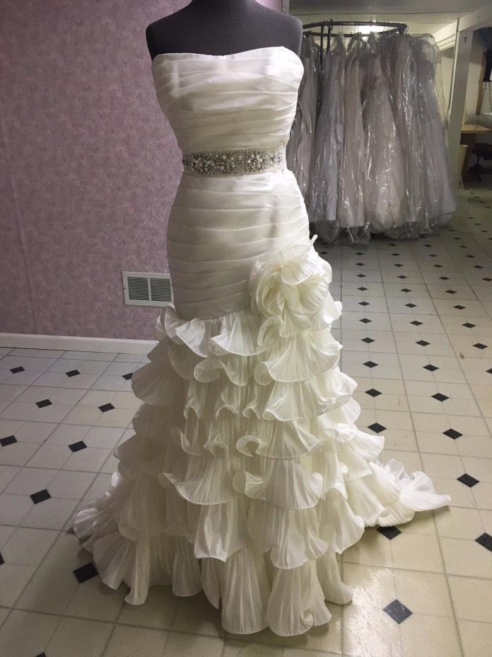 Jasmine Bridal Gown size 10 Taffeta with sash Ruched bodice Ruffle skirt