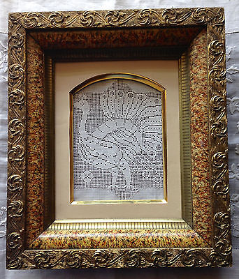 Antique Marbleized Wood Shadow Box Frame, 3 layer, Gold, 8x10 opening