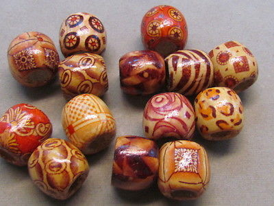 50 Assorted 16mm Wood Beads,10mm Hole,(G69E36)