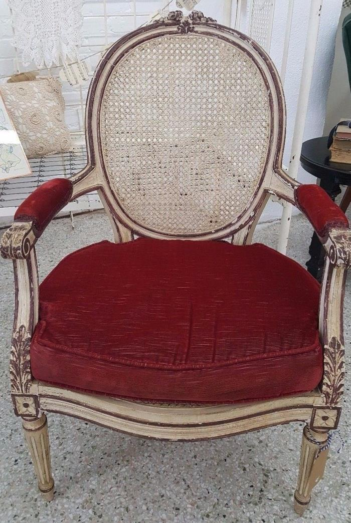 Vintage French Country Provincial Off White/Cream CANE Accent CHAIR Red Cushion