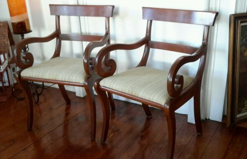 2 Solid Cherry Wood HARDEN Regency Empire Captain's Arm Chairs Mid-Cent Dining