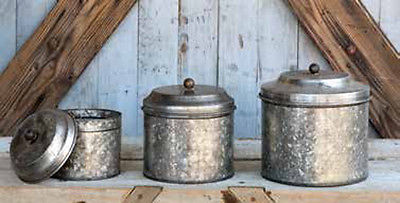 New Primitive Farmhouse Chic Shabby Metal Set 3 GALVANIZED CANISTERS Bucket Lid