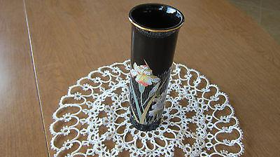 VINTAGE ASIAN OTAGIRL BLACK GOLD HND PAINTED VASE. JAPAN