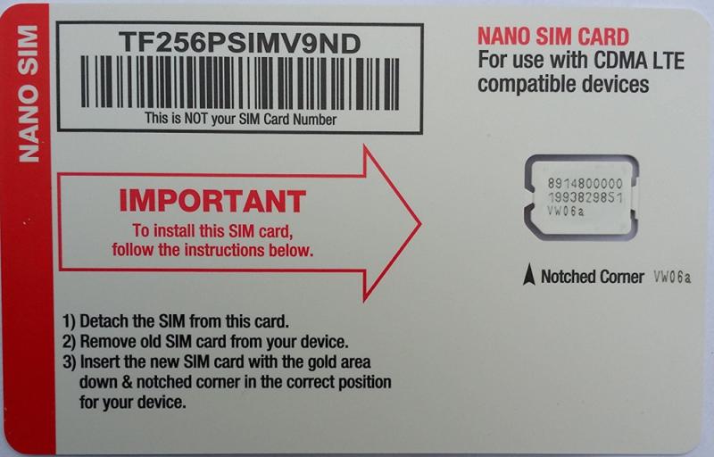 Straight Talk Verizon 4G LTE Compatible Nano SIM Card. Fits Verizon iPhone 5/5s/