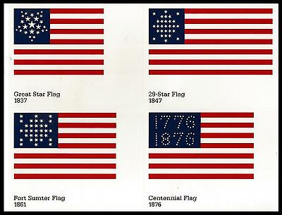 USA. FLAGS of USA. Block of four Post Cards. MNH 2000 (BI#32)