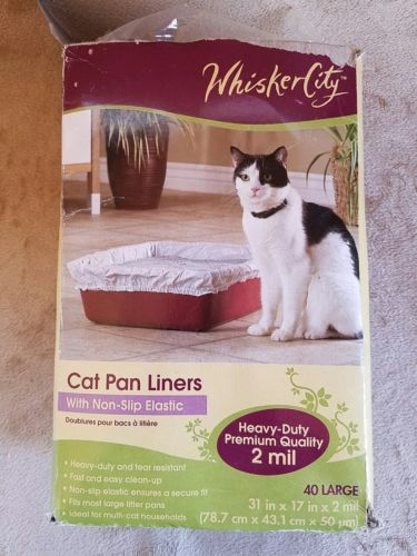 WHISKER CITY Cat Pan Litter Box Non-Slip HEAVY DUTY Elastic Closure Liners NEW
