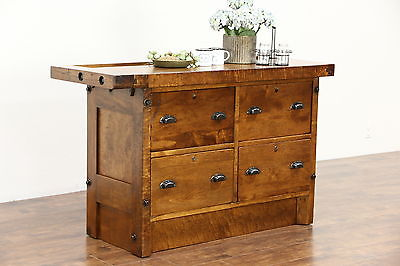 Kitchen Island or Wine & Cheese Counter, Maple 1925 Antique Workbench