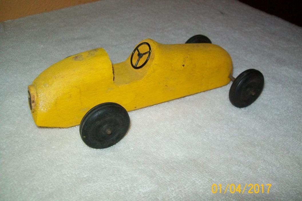 Vintage handcarved wood german race car 7