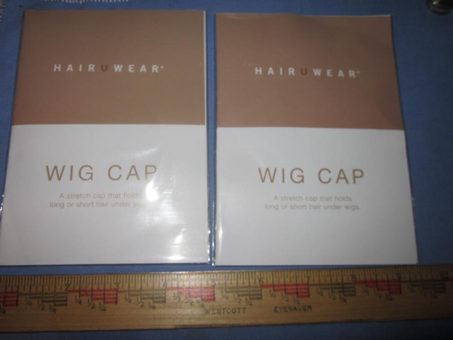 Pair NYLON WIG CAP from Hair U Wear BROWN TAUPE NEW in package