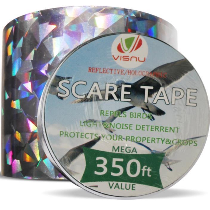 Bird Repellent Devices -350ft x 2in Bird Repellent Scare Tape Holographic Bird S