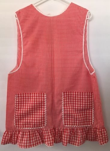 Vintage Red Gingham Ruffled Smock Apron Expertly Handmade Lunch Lady Waitress