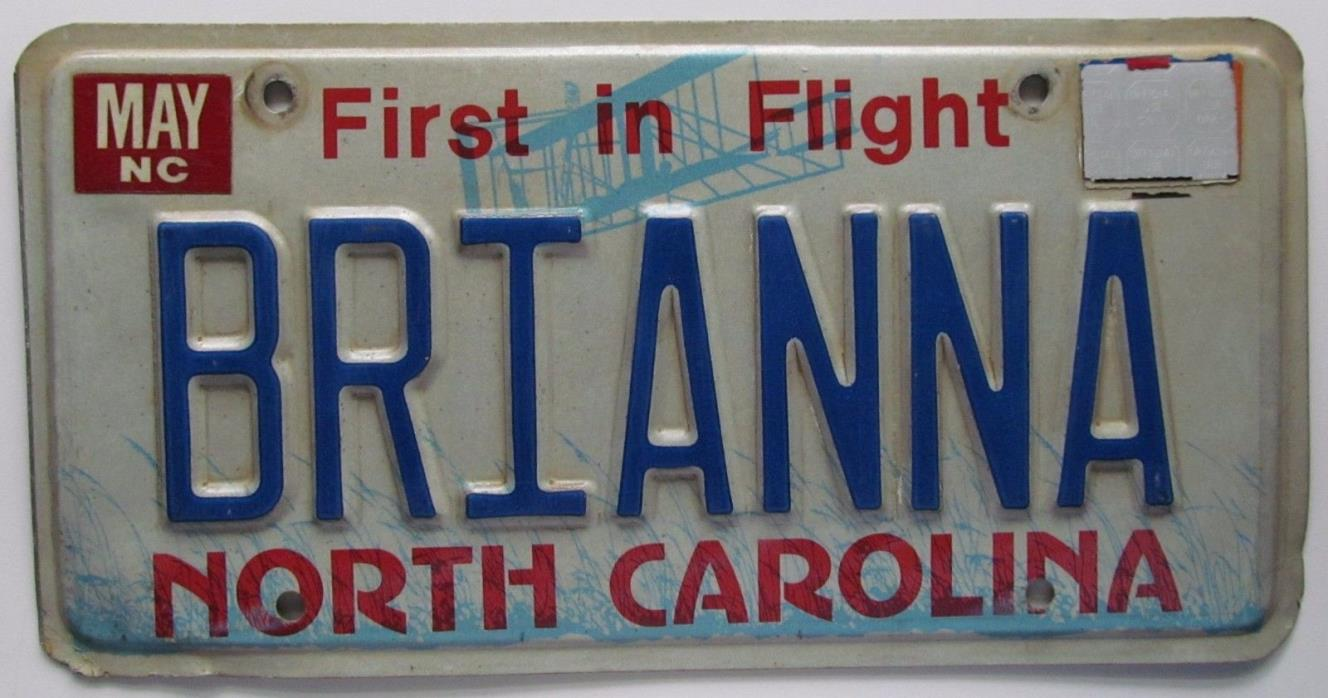 North Carolina 2012 VANITY License Plate BRIANNA