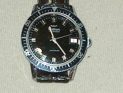vintage mens waltham diver watch,17 jewel mechanical,running