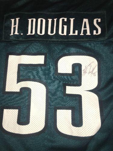 HUGH DOUGLAS AUTOGRAPHED PHILADELPHIA EAGLES GREEN JERSEY NFL RARE