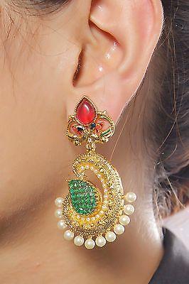 6663 Ethnic Bollywood White Bridal Indian Pearl Earrings Jhumka Jhumki Jewelry