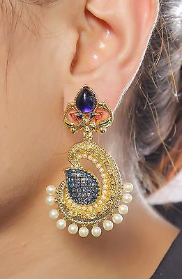 6661 Indian Bollywood Traditional Earring Blue Exclusive Fashion Jewelry Set