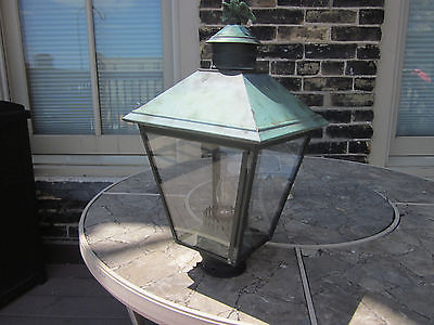 Vintage Copper Lantern for light post with glass included