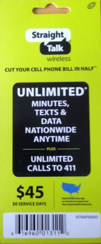 STRAIGHT TALK 30 DAY UNLIMITED $45 PREPAID CARD cell smart phone iphone android
