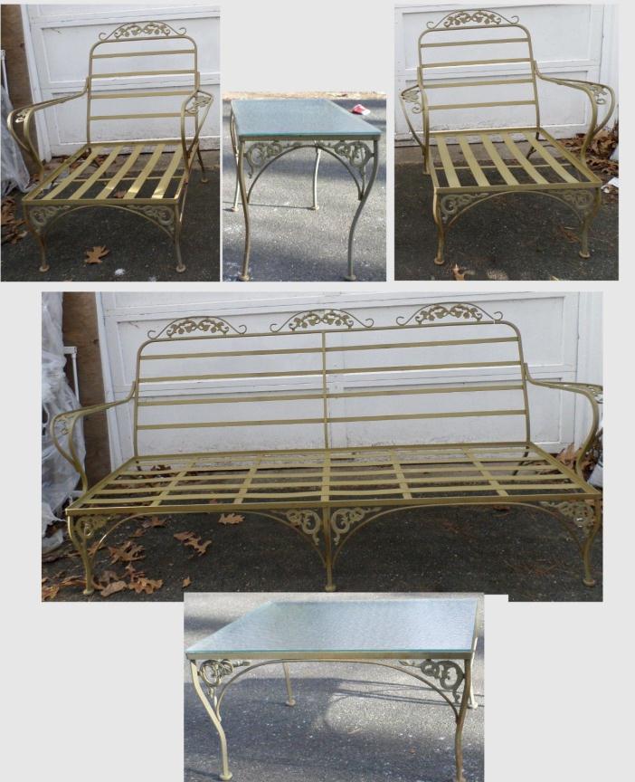 Vintage Woodard era Sofa ~ Arm Chairs (2) ~ Tables (2) - Del Area - CUSTOM PAINT
