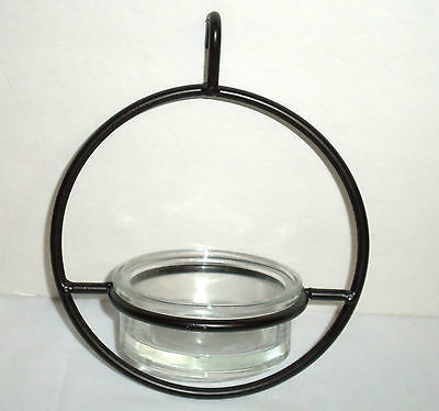 CLEAR GLASS SPHERE HANGER BLUEBIRD FEEDER - MEALWORMS