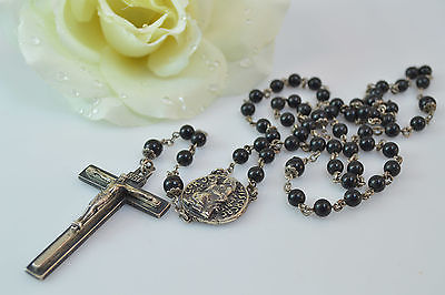 Black Bead Latin Pendant Catholic Rosary Sterling Silver 47.9g Vintage Estate