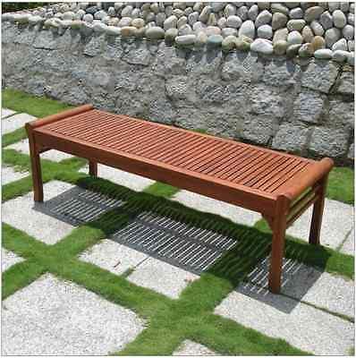 Outdoor Patio Garden Picnic Bench Eucalyptus Wood Backyard Decor Weather Safe