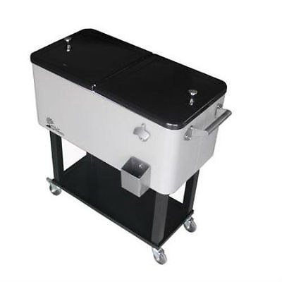 Palm Springs Outdoor 80Quarts Large Portable Rolling Cooler Cart Party Ice Chest