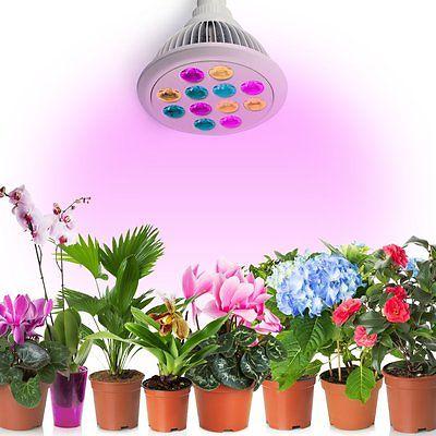 LED Grow Light 12W E27 Hydroponic Plant Veg Flower Lamp Bulb Full Spectrum US
