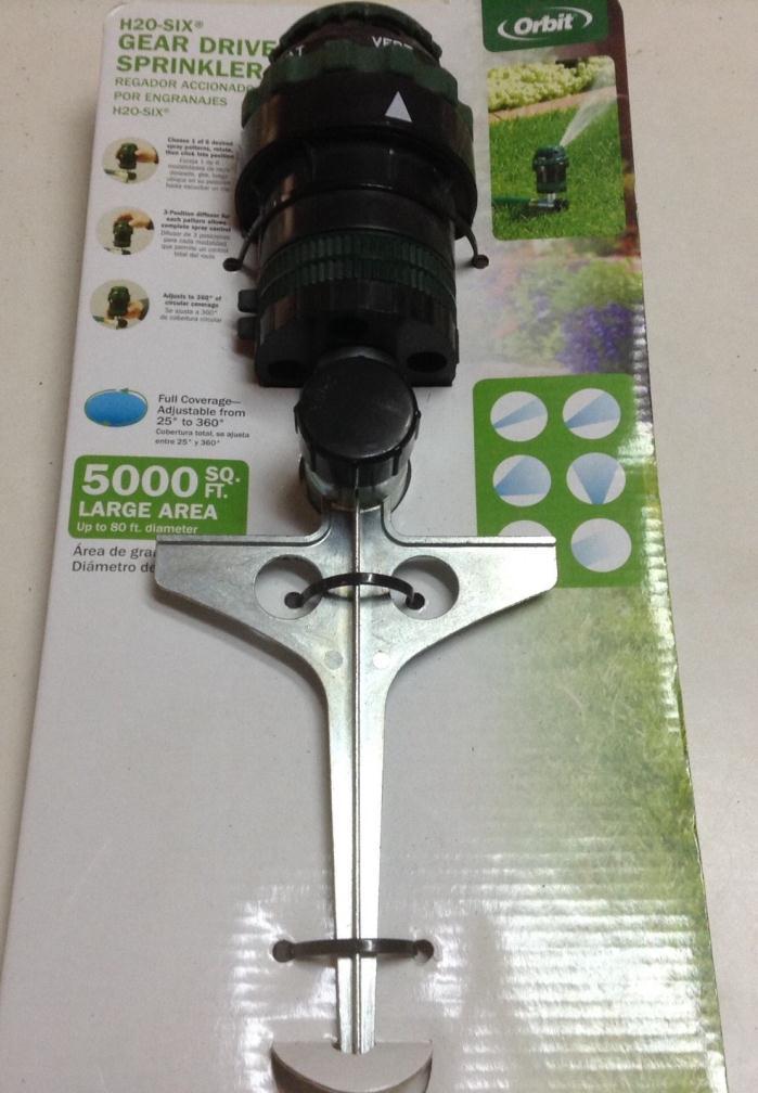 Orbit Sprinkler System H2O-Six Gear Drive Sprinkler 5000 Sq Ft Large Area