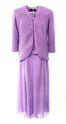 NEW Alex Evenings Purple Lilac Womens Size 14 Glitter Sheath Dress Set $199 @286