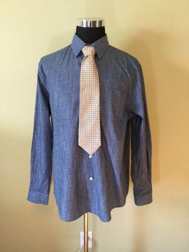 PERRY ELLIS XL BLUE STRIP BUTTON UP MENS DRESS SHIRT