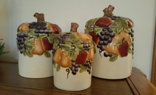 *Celebrating Home Interiors Sonoma Villa Fruits Canister Set W Sealable Lids!*