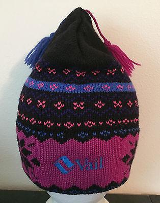 VTG 80's Vail Wool Beanie Hat Ski Snowboard Resort Handmade Murray Merkley NEON