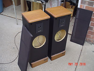 Advent Prodigy Tower Stereo Speakers Solid Pecan Tops and Base Refurb Woofers