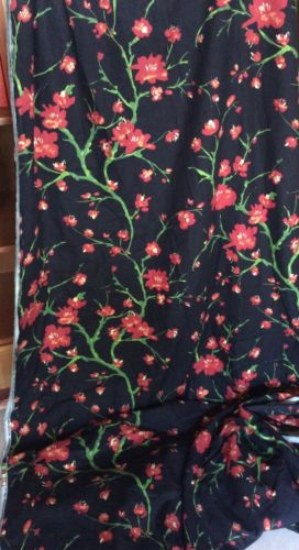 12 Yards Upholstery Drapery Fabric Black Red Poppy Home Decor Braemore