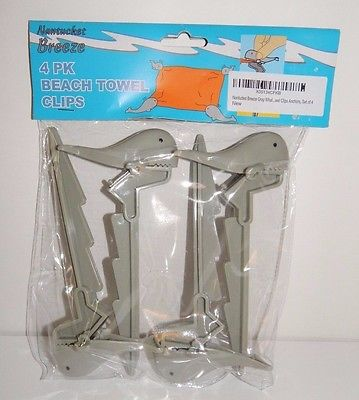 BEACH TOWEL CLIPS/ANCHOR 4 PACK GRAY-COLORED WHALE CLIPS