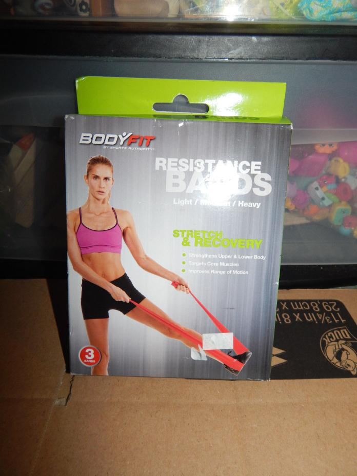Body Fit Resistance Bands 3-pack Light/Medium/Heavy by Sports Authority  NIP