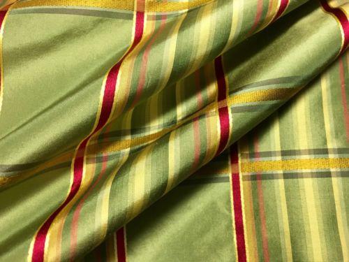 10 YDS Lee Jofa Kravet 100% Silk Plaid Fabric Red Green Gold