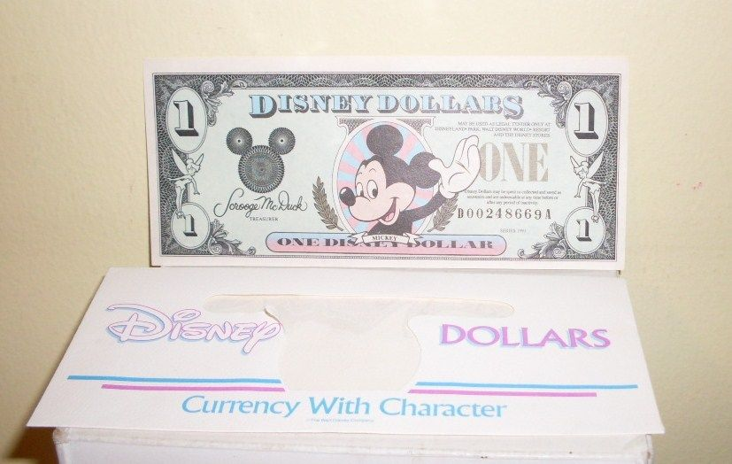 Disney $1 Mickey Dollar 1991 D-A Series Castle on Back with Envelope