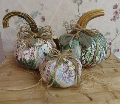 Grandma Moses Rare Deep Snow & Early Springtime Fabric Balsam Pumpkins Set of 3